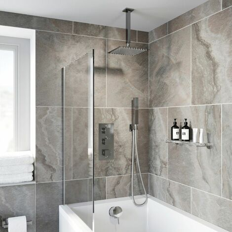 Thermostatic Square Concealed Shower Ceiling Mounted Handset Heads Bath Filler