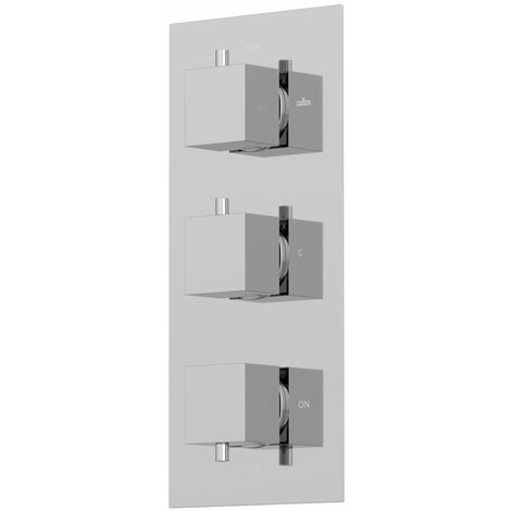 Thermostatic Square Control Concealed Shower Valve Triple Outlet Chrome Finish
