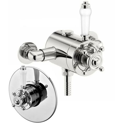 Thermostatic Traditional Concealed / Exposed Shower Mixer Valve - 130mm to 160mm