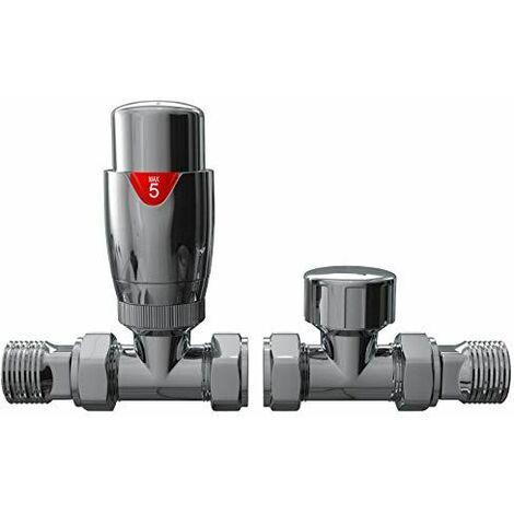 "Thermostatic TRV Radiator Valves Set 1/2"" x15mm Straight Rad Valve Chrome Finish"