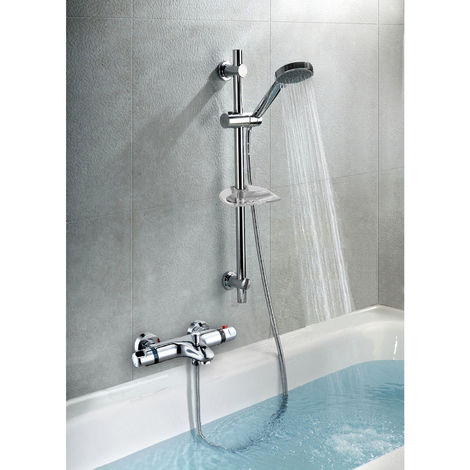 THERMOSTATIC WALL MOUNTED VALVE BATH SHOWER MIXER RISER KIT / 5 MODE HANDSET