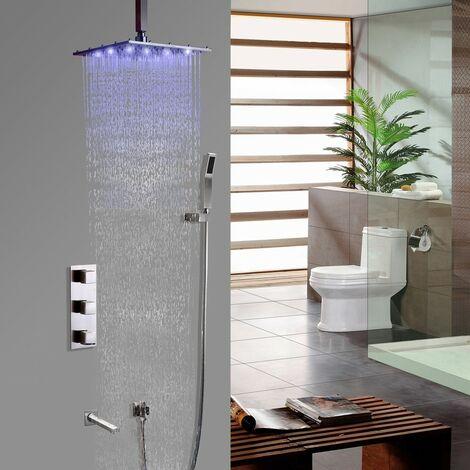 Thermostatisches Duschsystem gebürstetes Nickel mit Wandhalterung Mit 250 mm LEDs