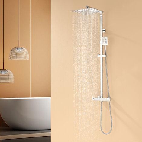 Thermostatmischer-Duschset Schwarzes 9 Zoll Overhead-Dusche Duschsäule Thermostatmischer Dusche Luftregen für Badezimmer