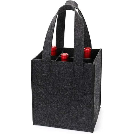 Thick Felt Wine Bag with Handle, Wine Bottle Gift Bag for Travel Birthday Party, Reusable Washable with Removable Divider (6 Bottles, Dark Gray)