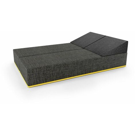 Thick Floor Futon Mattress in Grey. Stacking Futon Mattress, Foam Guest Double Bed, Can Split into 2x Single Beds.