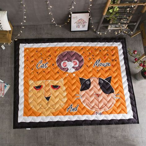 Thick Kid's Rug Crawling Mat Game Non-slip Baby Play Mat Kid's Room Decoration Cat and Mouse 145 * 195cm