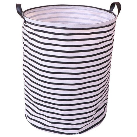 Thickened linen basket - with durable leather handle, round cord with cotton waterproof and linen folding storage basket (white L)