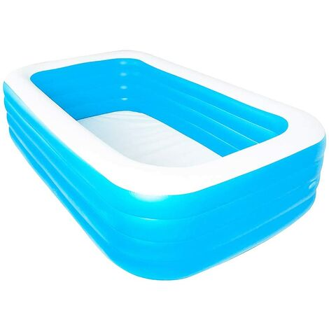 Thickened PVC Rectangular Inflatable Swimming Pool Kids Pool Outdoor Home Large Family Pool 2.1m Blue and White Four Layer Pool