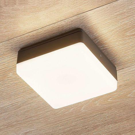 Thilo LED ceiling lamp IP54, grey 16 cm, TL sensor