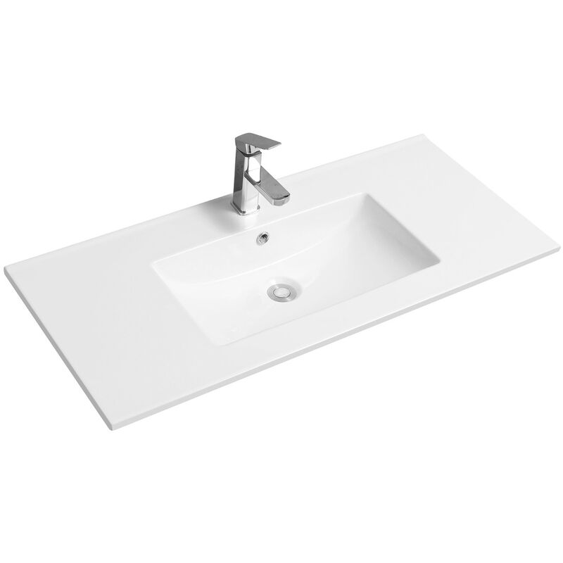 Thin-Edge 4001A Ceramic 101cm Inset Basin with Scooped Bowl