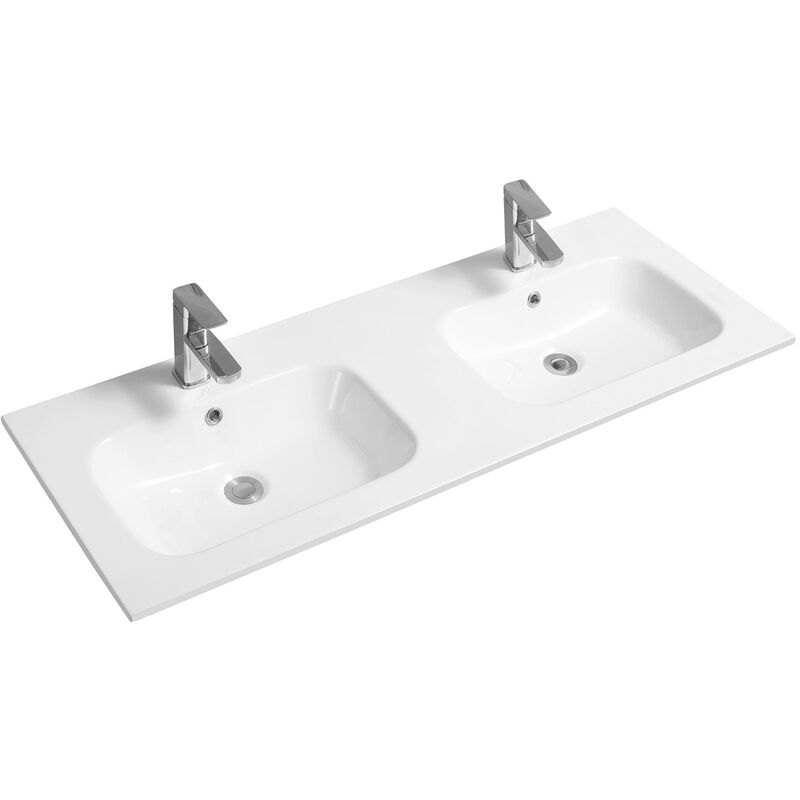 Thin-Edge 4010 Ceramic 121cm Double Inset Basin with Oval Bowl