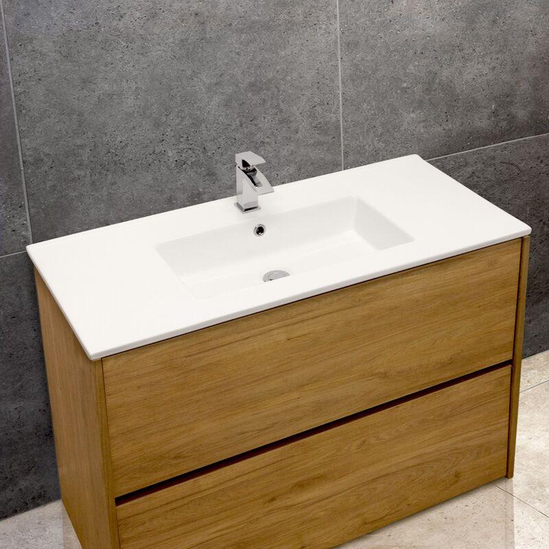 Thin-Edge 4012 Ceramic 101cm Inset Basin with Rectangular Bowl
