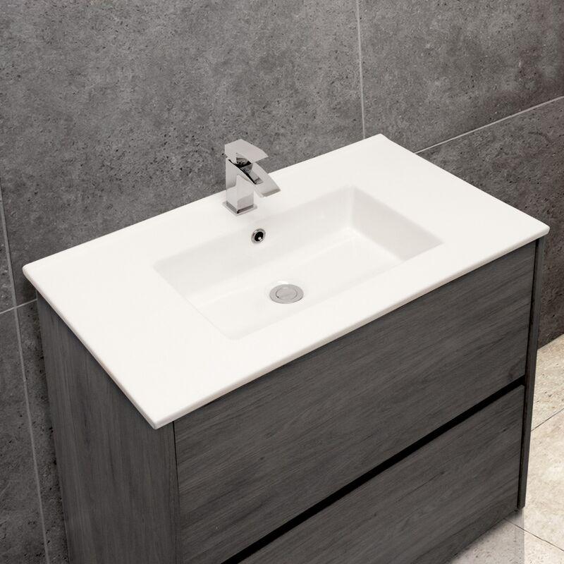 Thin-Edge 4012 Ceramic 81cm Inset Basin with Rectangular Bowl