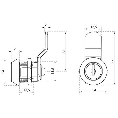 THIRARD - Batteuse avec came pour boîte aux lettres, nickel, longueur 9.7mm, 2 clés