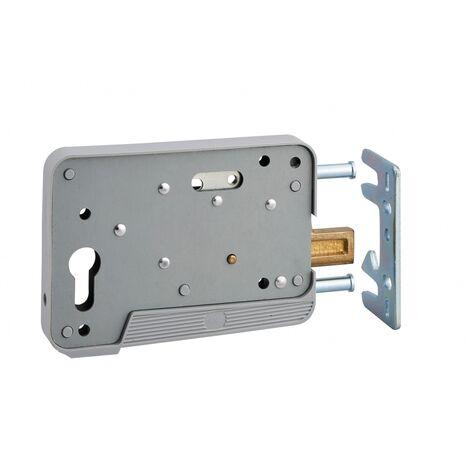 THIRARD - Boitier de serrure en applique à double entrée pour portillon, réversible, 150x108mm, axe 130mm, gris