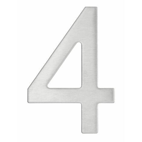Thirard - Chiffre 4 adhésif, inox, H.76mm