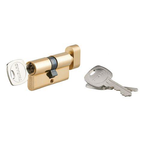 THIRARD - Cylindre de serrure à bouton 5G STD urgence, 30Bx30mm, laiton, 3 clés