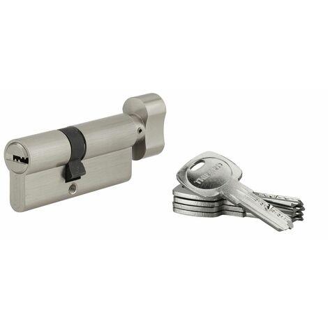 THIRARD - Cylindre de serrure à bouton Tiger 6, 40Bx30mm, nickel, anti-arrachement, anti-perçage, 5 clés