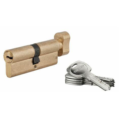 THIRARD - Cylindre de serrure à bouton Tiger 6, 40Bx40mm, laiton, anti-arrachement, anti-perçage, 5 clés