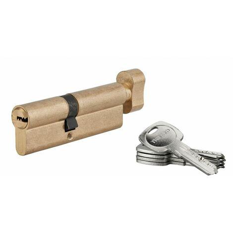 THIRARD - Cylindre de serrure à bouton Tiger 6, 45Bx50mm, laiton, anti-arrachement, anti-perçage, 5 clés