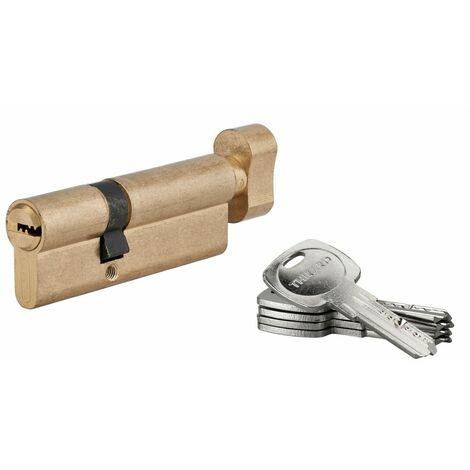 THIRARD - Cylindre de serrure à bouton Tiger 6, 50Bx30mm, laiton, anti-arrachement, anti-perçage, 5 clés