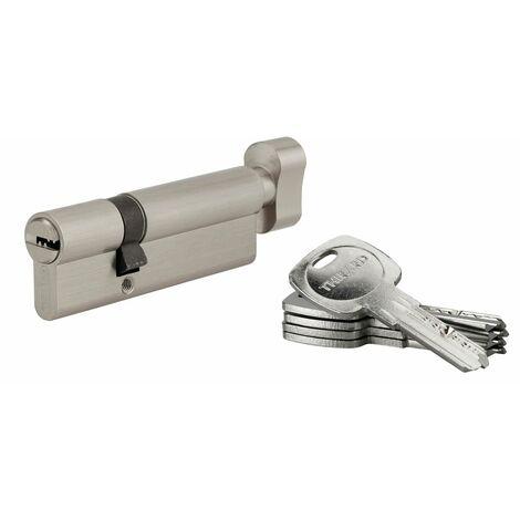 THIRARD - Cylindre de serrure à bouton Tiger 6, 60Bx30mm, nickel, anti-arrachement, anti-perçage, 5 clés