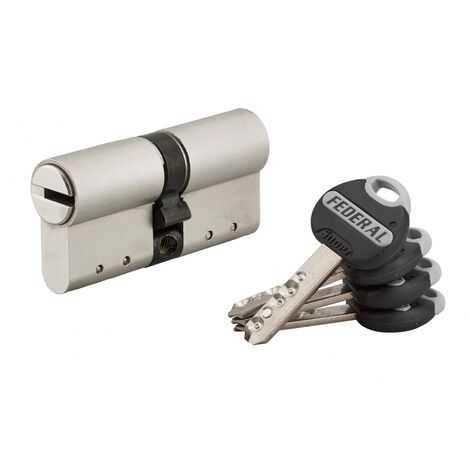 THIRARD - Cylindre de serrure double entrée Federal 2, 30x30mm, nickel, anti-arrachement, anti-perçage, 4 clés