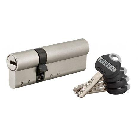 THIRARD - Cylindre de serrure double entrée Federal 2, 30x60mm, nickel, anti-arrachement, anti-perçage, 4 clés