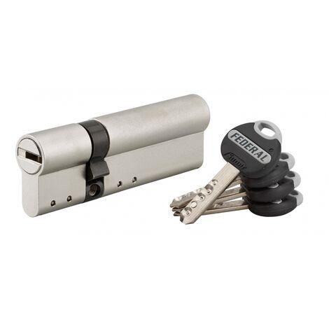 THIRARD - Cylindre de serrure double entrée Federal 2, 30x65mm, nickel, anti-arrachement, anti-perçage, 4 clés