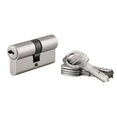 THIRARD - Cylindre de serrure double entrée Trafic 6, 30x30mm, nickel, anti-arrachement, anti-perçage, panneton réduit, 5 clés