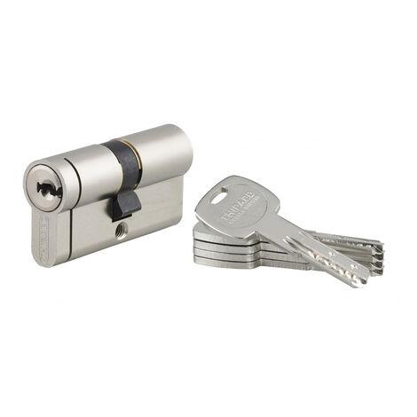 THIRARD - Cylindre de serrure double entrée Transit 2, 30x30mm, nickel, anti-arrachement, anti-perçage, anti-casse, 4 clés