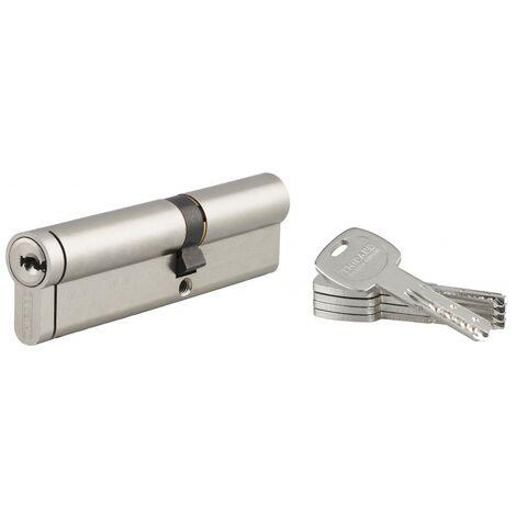 THIRARD - Cylindre de serrure double entrée Transit 2, 40x60mm, nickel, anti-arrachement, anti-perçage, anti-casse, 4 clés