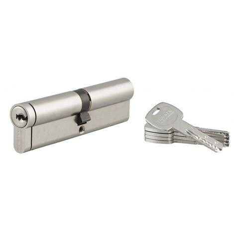 THIRARD - Cylindre de serrure double entrée Transit 2, 45x50mm, nickel, anti-arrachement, anti-perçage, anti-casse, 4 clés
