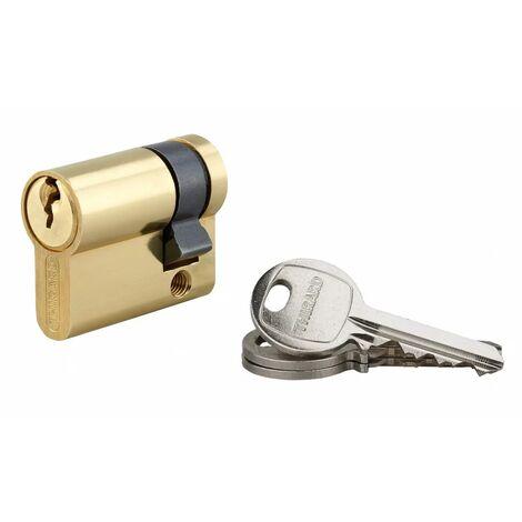 """main image of """"THIRARD - Demi-cylindre 30 x 10 mm 3 clés avec vis de 50 mm laitonné"""""""