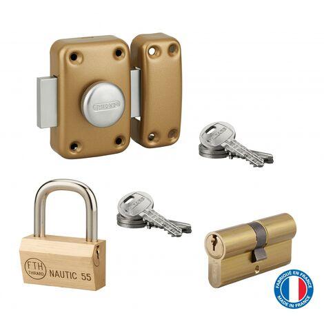 THIRARD - Lot cadenas Nautic + cylindre double entrée 30x30mm + verrou Capital double entrée, s'entrouvrant, 6 clés