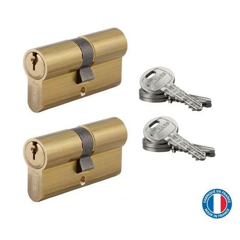 THIRARD - Lot de 2 cylindres de serrure double entrée HG, 30x30mm, s'entrouvrant, nickel,3 clés/cylindre