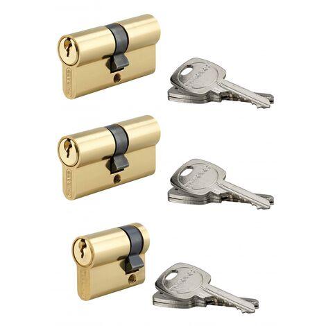 Thirard - Lot de 3 cylindres de serrure 5 goupilles standard