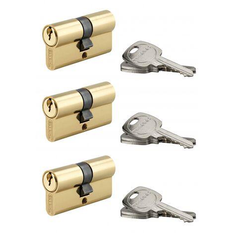 Thirard - Lot de 3 cylindres de serrure 5 goupilles std à double entrée - 30 x 30 mm