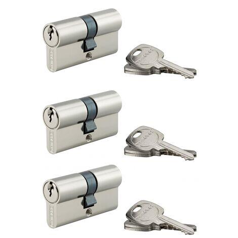 THIRARD - Lot de 3 cylindres de serrure double entrée, 30x30mm, anti-arrachement, s'entrouvrant, nickel, 3 clés/cylindre