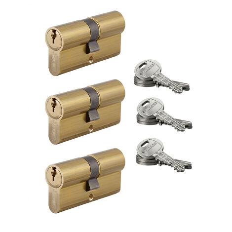 """main image of """"THIRARD - Lot de 3 cylindres de serrure double entrée HG, 30x30mm, s'entrouvrant, nickel,3 clés/cylindre"""""""
