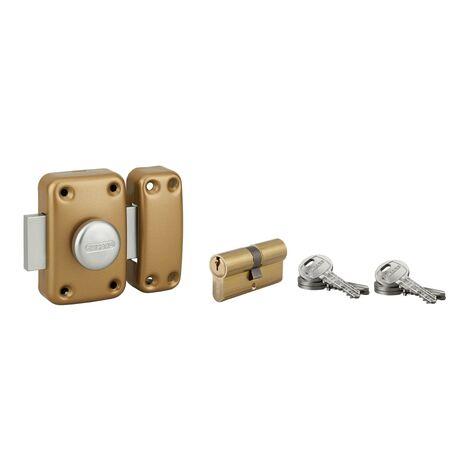 THIRARD - Lot verrou à bouton Capital cylindre 45mm + cylindre HG 30x30mm, 6 clés