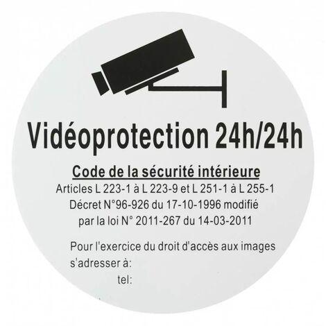 THIRARD - Plaque signalétique Ø 180mm vidéoprotection 24/24 avec adhésif