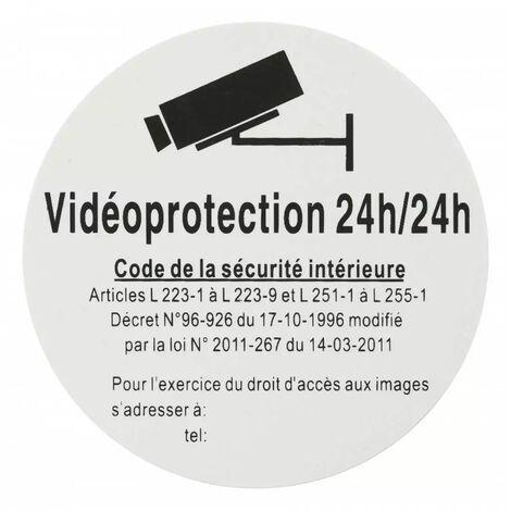 THIRARD - Plaque signalétique Ø 80mm vidéoprotection 24/24 avec adhésif