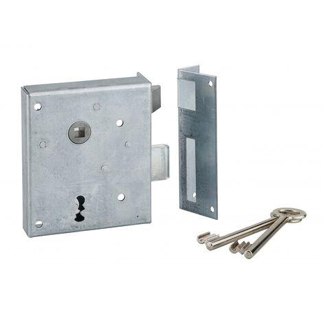 THIRARD - Serrure applique Alsace à clé à fouillot pour porte int., droite pouss., carré 8mm, axe 60mm, 110x70mm, noir, 2 clés