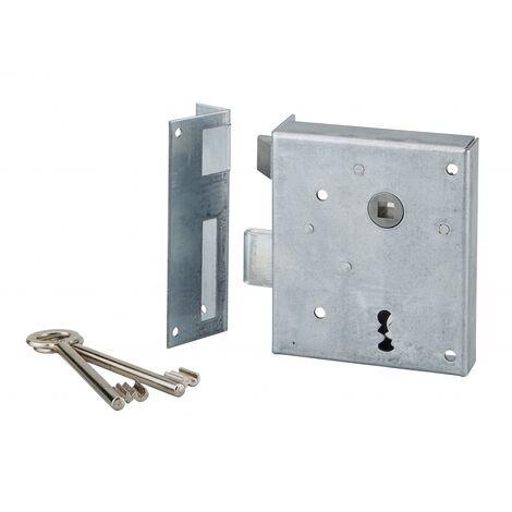 THIRARD - Serrure applique Alsace à clé à fouillot pour porte int., gauche pouss., carré 8mm, axe 60mm, 110x70mm, noir, 2 clés