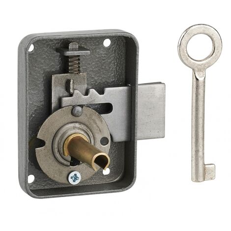 THIRARD - Serrure de meuble Paris pour porte d'ameublement, gauche, axe 30mm, 55x70mm, gris, 1 clé