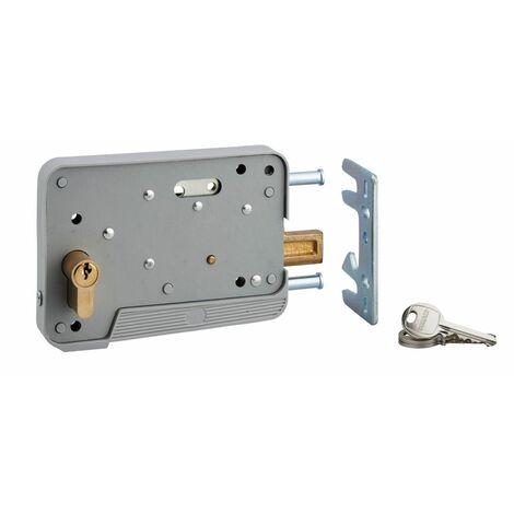 THIRARD - Serrure en applique à double entrée pour portillon, réversible, 150x108mm, axe 130mm, cylindre 30x10mm, gris, 3 clés