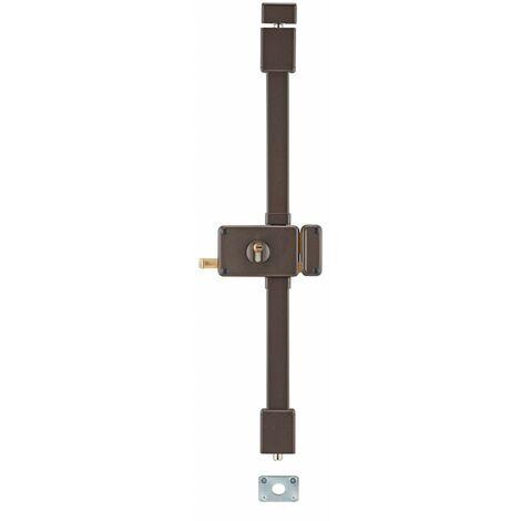 THIRARD - Serrure en applique Horga à tirage pour porte d'entrée, droite, 3 pts, Transit2 30x65mm, axe 70mm, marron, 4 clés