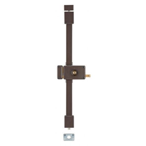 THIRARD - Serrure en applique Horga à tirage pour porte d'entrée, gauche, 3 pts, Transit2 Ø23mm, axe 70mm, marron, 4 clés
