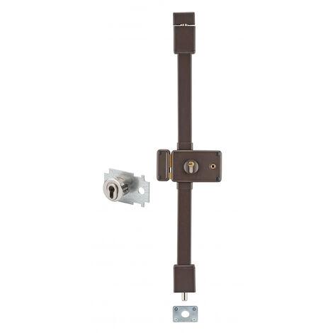 THIRARD - Serrure en applique Horga A2P* à fouillot :entrée, gauche, 3pts, Transit2 30x65mm, 50mm max, axe 70mm, marron, 4 clés